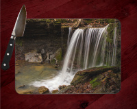 Artist Point Arkansas Waterfall Glass Cutting Board 8x11 and 12x15 | Beautiful Counter Protector