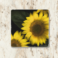 Sunflower Floral Tumbled Stone Coaster | Floral Drink Coaster | Stone Tile