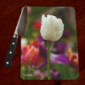 White Tulip Photo Tempered Glass Cutting Board 8x11 and 12x15