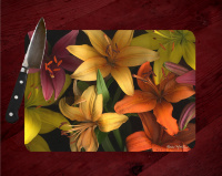 Tiger Lily  Fine Art Photo Tempered Glass Cutting Board 8x11 and 12x15