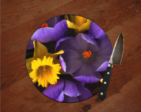 "Crocus and Daffodil Floral Round Glass Cutting Board 8"" and 12"" 