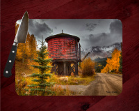 Old Colorado Train Water Tank Photo Tempered Glass Cutting Board 8x11 and 12x15