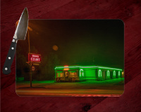 Boots Court Motel along Route 66 Motel in Carthage Glass Cutting Board 8x11 | Route 66 Art | Missouri