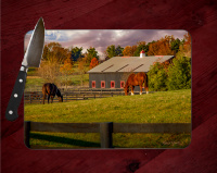 Kentucky Bluegrass Horse Farm Glass Cutting Board 8x11 and 12x15