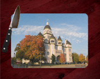 Jasper County Courthouse with Fall Maple Tree I in Carthage Cutting Board Route 66