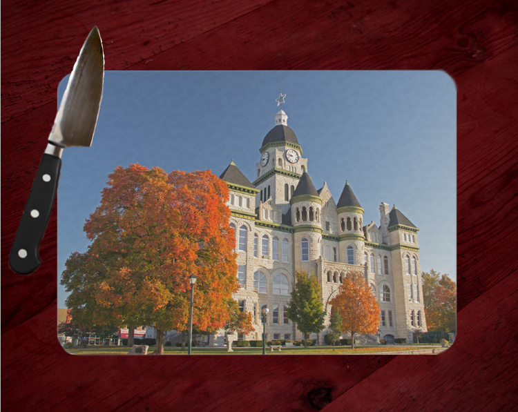 Jasper County Courthouse Fall in Carthage Cutting Board |  8x11 and 12x15 | Route 66 Cutting Board | Route 66 Gifts