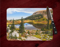 Colorado Blue Lakes Trail Glass Cutting Board 8x11 and 12x15 | Beautiful Counter Protector | Colorado Art