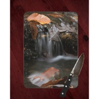 Fall Waterfall at Crystal Bridges Photo on Tempered Glass Cutting Board 8x11 and 12x15