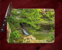 Lost Valley Trail Waterfall Arkansas Photo Tempered Glass Cutting Board 8x11 and 12x15