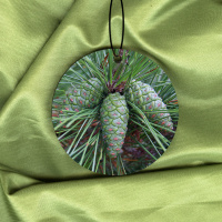 Pinecones Round Wood Ornament With Photo by Koral Martin
