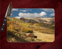 Colorado Cabin in the Fall Glass Cutting Board  8x11 and 12x15 | Fall Aspen | Colorado Mountains Counter Protector