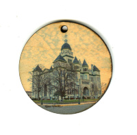 Jasper County Courthouse in Carthage Round Wood Ornament With Photo by Koral Martin, Route 66