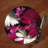 "Pink Gerber Daises Photo 8"" and 12""  Round Glass Cheese Board"