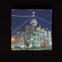 "Jasper County Courthouse in Winter I (Blue) 6""  Tumbled Stone Trivet"