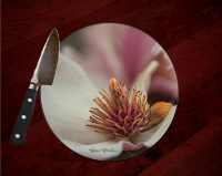 Saucer Magnolia Bloom Round Glass Cutting Board, Decorative Cheese Board, Centerpiece