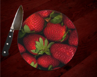 "Strawberry Round Glass Cutting Board 8"" and 12"" 