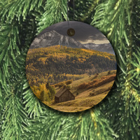 Colorado Ornament of Old School House Round Wood Ornament With Photo by Koral Martin