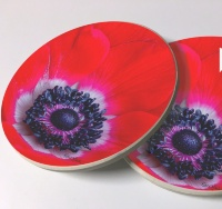 Red Anemone Photo Sandstone Car Coasters, Sold as a pair, Floral Art Cup Holder Coaster