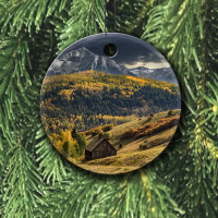 Colorado Ornament of Old School House Round Ceramic Ornament With Photo by Koral Martin