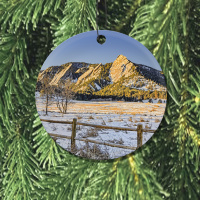 Chatauqua Flatirons  Boulder Colorado Round Ceramic Ornament With Photo by Koral Martin (1)