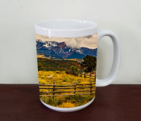 Colorado Sneffels Range Mountains Coffee Mug with Fall Aspen, Wood Fence, Fine Art Photo Mug, Tea Mug, 15 oz & 11 0z Sizes, Telluride Photo