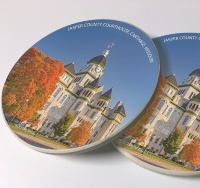 Jasper County Courthouse Carthage Photo Sandstone Car Coasters, Sold as a pair, Route 66 Art