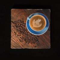 "Blue Coffee Cup and Beans 6""  Tumbled Stone Trivet"