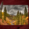 Colorado Trout Lake Trestle Photo Glass Cutting Board 8x11 and 12x15 Horizontal | Colorado Kitchen Decor